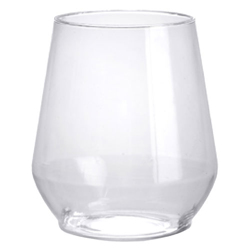 12 Oz Clear Plastic Stemless Wine Glasses